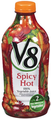 V8 100% Vegetable Juice, Spicy Hot, 46-Ounce Bottles (Pack Of 12)