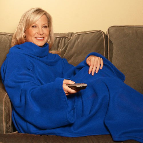 Snuggle Fleece Blanket Cozy Wrap Warm Throw Travel Plush Fabric With Sleeves As Seen On TV- Blue