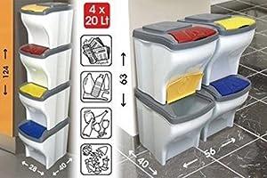Pattumiera componibile set 4 pezzi da 20 lt bama poker casa e cucina - Contenitori raccolta differenziata per casa ...