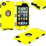 myLife (TM) Sun Yellow + Black Armored Survivor (Built-In Screen Protector) Shockproof Case for iPod 4/4S (4G) 4th Generation iTouch (Full Body Armor Outfit + Soft Silicone External Shock Proof Gel + 2 Piece Internal Snap On Shield)