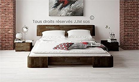 Lit en bois design mezzo 140x200 Wenge laque