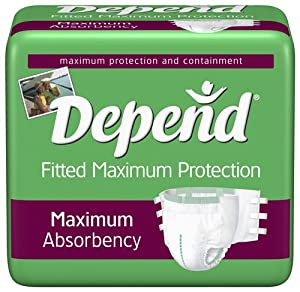 Depend Adult Briefs, Diaper Style, Maximum Fitted Protection by Kimberly Clark