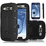 Galaxy S3 Case, EC™ Kickstand Deluxe Triple Layer Defender Case, [Shockproof] Case, Rubber Combo Hybrid Impact Silicone Armor Hard Case Cover for Samsung galaxy S3 i9300 (Verizon, AT&T, T-Mobile, Sprint, International Unlocked) with Stylus (Black/Black)