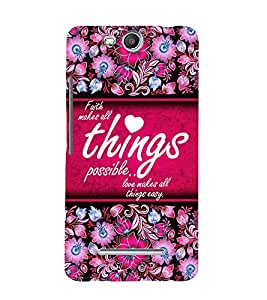 Love Makes All Things Easy 3D Hard Polycarbonate Designer Back Case Cover for Micromax Bolt Q338
