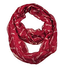 WishCart Infinity Loop Scarf For Womens and Girls ,Circle Neck Wrap ,Animal Printing-Red Dragonfly