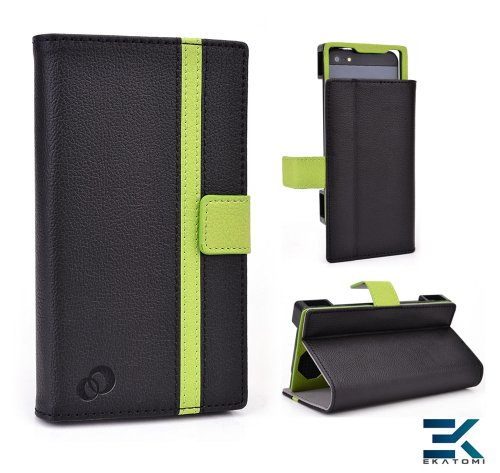 Book Folio Universal Cover Stand Fits Apple Ipod Touch 5Th Generation Case - Black & Green. Bonus Ekatomi Screen Cleaner