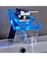 Auralum® Design Robinet Mitigeur LED RGB Cascade Pour Lavabo Salle de Bain Métal Chromé et Verre Cristal