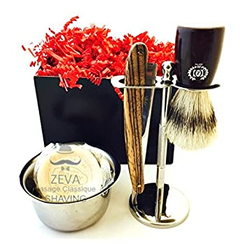 MEN SHAVING GIFT SET VINTAGE ZEEPK WOODEN HANDLE STRAIGHT RAZOR BARBER WITH SHAVING STAND SHAVING BRUSH AND SHAVING BOWL 100 DERBY BLADES