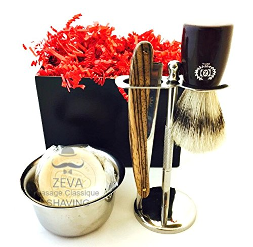 MEN SHAVING GIFT SET VINTAGE ZEEPK WOODEN HANDLE STRAIGHT RAZOR BARBER WITH SHAVING STAND SHAVING BRUSH AND SHAVING BOWL 100 DERBY BLADES 0
