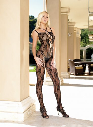 Leg Avenue – Romantic lace criss cross strapped bodystocking – 8775
