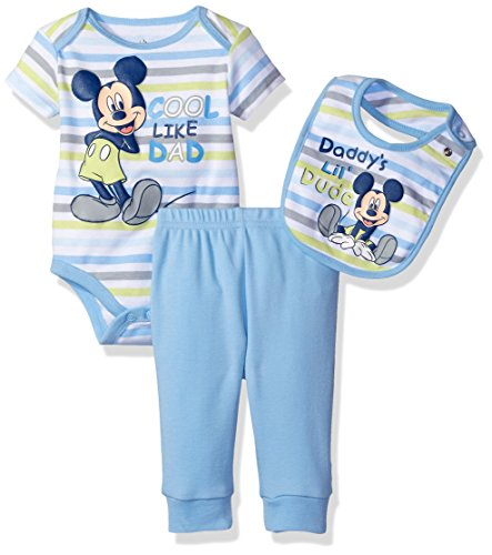 Disney Baby Boys' Mickey Mouse 3 Piece Layette Set, Light Blue, 0-3 Months