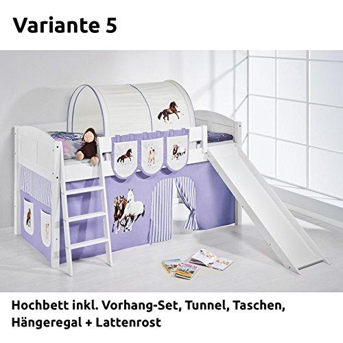 Hochbett Spielbett IDA Pferde Lila Beige , mit Rutsche und Vorhang, weiß, Variante 5