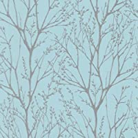 I Love Wallpaper Shimmer Wallpaper Teal / Silver from I Love Wallpaper