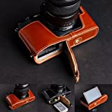 Tan Genuine Handmade Camera Half Leather Case Bag Cover for Olympus OM-D E-M5 (Bottom open-able)