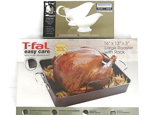 Mix brands T-fal Turkey Roasting Pan with Rack and 2-Piece Gravy Boat Set (Blue Speckled Roasting Pan compare prices)