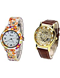 COSMIC COMBO WATCH- COLORFUL STRAP ANALOG WATCH FOR WOMEN AND BROWN ANALOG SKELETON WATCH FOR MEN - B01CGGOSMQ
