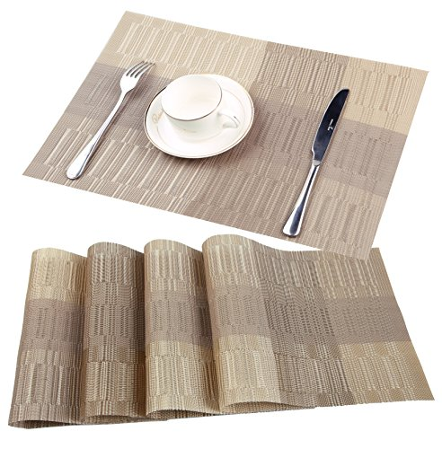Famibay Bamboo PVC Weave Placemats Non-slip Table Mats for Kitchen Table Set of 4 – 30×45 cm (Color 3)