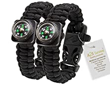 buy 1# Best Value For Money A2S Paracord Bracelet Compass Whistle Lighter Set Of Two Outdoors Survival Gear (Black / Black)