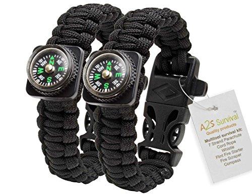 1# BEST Value For Money A2S Paracord Bracelet Compass Whistle Lighter Set of Two Outdoors Survival Gear (Black / Black)