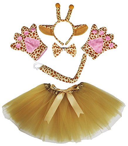 Giraffe Headband Bowtie Tail Gloves Gold Tutu 5pc Girl Costume Dress for Party