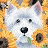 Sunflowers West Highland White Terrier Blank Card