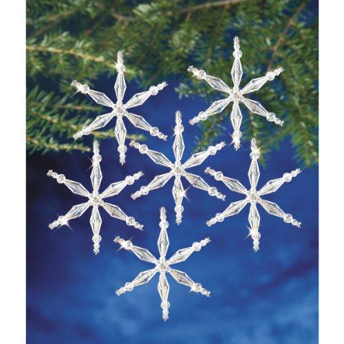 Beadery Holiday Beaded Ornament Kit, 3-Inch, Ice Crystal Snowflake, Makes 12 Ornaments