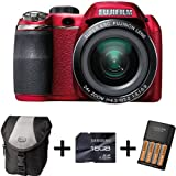 Fujifilm FinePix S4200 Red + Case + 16GB Memory + 4 AA Batteries and Charger (14MP, 24x Optical Zoom) 3 inch LCD Screen