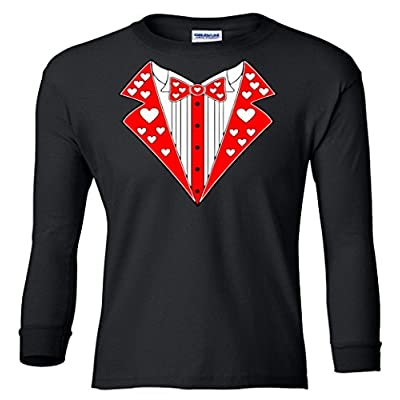 Valentine's Day Heart Tuxedo Youth long sleeve T-Shirt