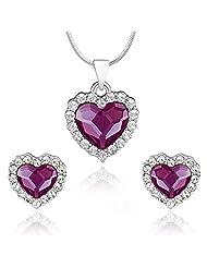 Mahi Rhodium Plated Purple Titanic Heart Pendant Set Made With Swarovski Elements For Women NL1104118RPur