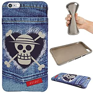 DMG Rubber TPU Gel Silicone Soft Protective Case Cover Skin for Apple iPhone 6 Plus 6S Plus (Skull)