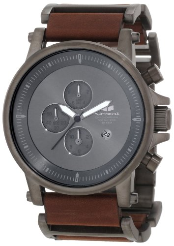 Vestal Men's PLE037 Plexi Gunmetal with Oiled Dark Brown Leather Watch