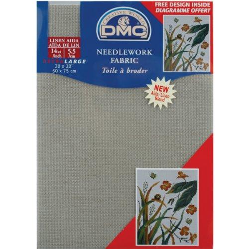 DMC DC28L-842 Aida Linen Needlework Fabric, 20 by 30-Inch, Beige, 14 Count