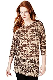 Plus Slash Neck Mottled Print Jumper with Linen