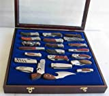 Knife Display Case Wall Shadow Box for Hunting Pocket Swiss Army Knives Display, Cherry Finish (KC04-CH)