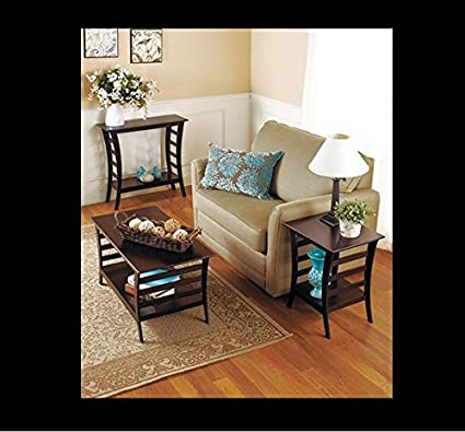 Walnut Finish Tables Modern 3 piece set Console, Side, End, & Coffee Table