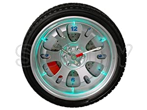 tire wall clock 10 inch with led light