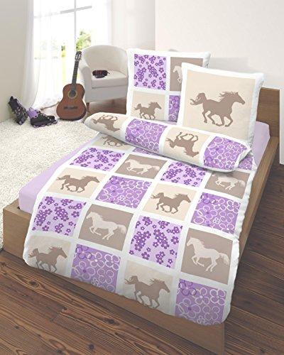 feinbiber kinder bettw sche 135x200 cm pferde lila markenware von ido homewear themazeastronaut. Black Bedroom Furniture Sets. Home Design Ideas