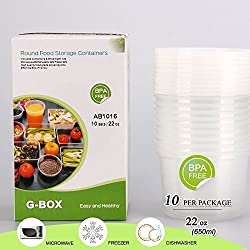 (10-Pack/16oz) Round Food Storage Containers with Lid, Deli Food Storage Containers, by G-Box Life