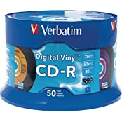 CD-R 700MB Write Once 5-Color Digital Vinyl Recordable Compact Disc Spindle Pack Of 50 And Free 6 Feet Netcna...