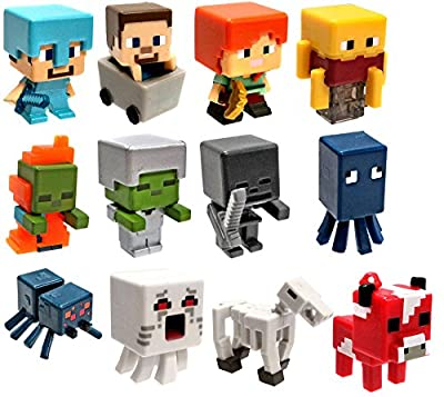 "Minecraft Netherrack Series 3 Set of All 12 1"" Mini Figures from Mattel Toys"