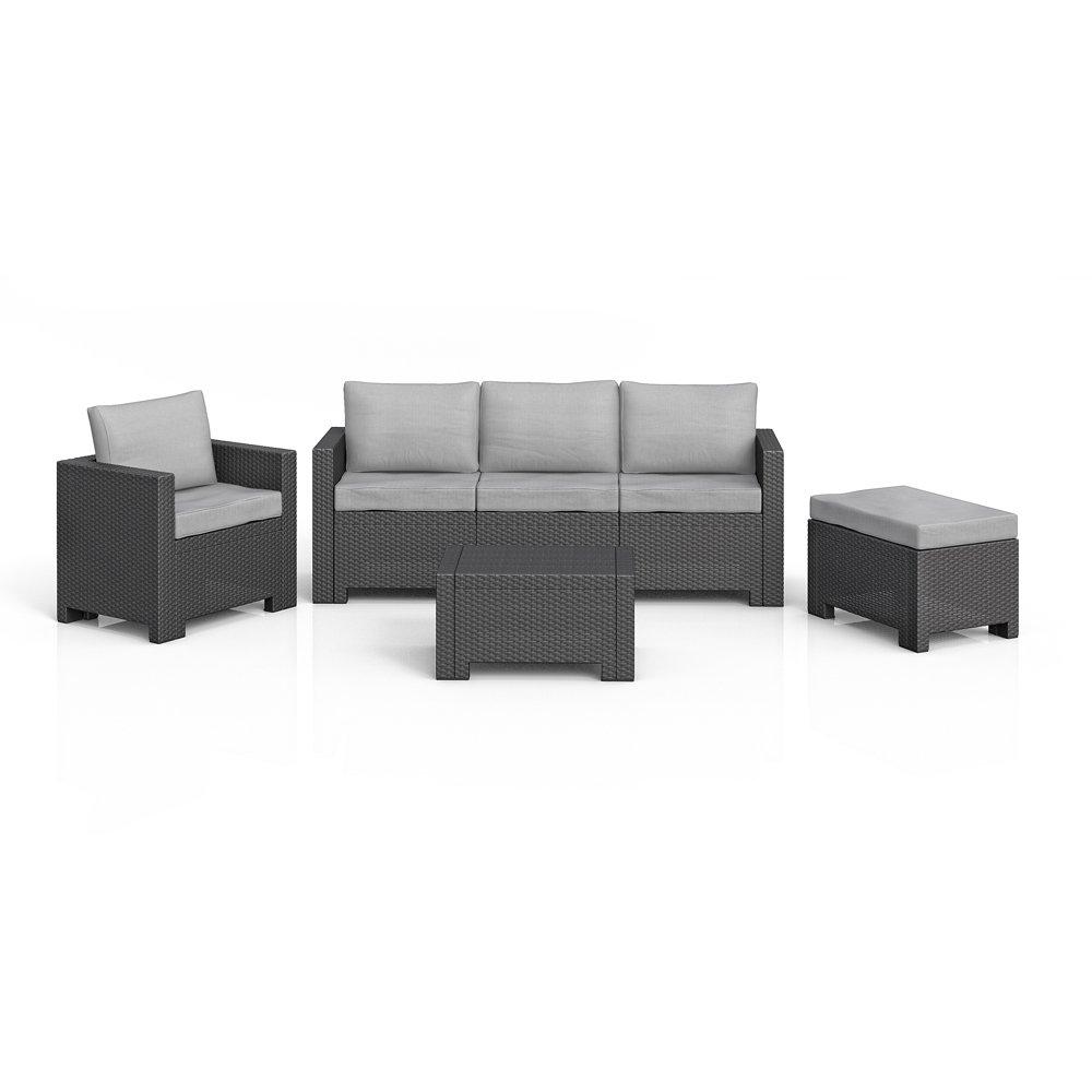 BICA Colorado Lounge Set Poly Rattan Gartenmöbel Rattanoptik Sitzgruppe anthrazit inkl. Auflagen online kaufen