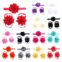 Lisli® 3sets/9pcs Baby Girl's Kids Flowers Foot Band Ties Barefoot Sandals Shoes and Headband by Lisli