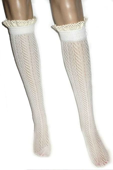 Ginga's Galleria Women's Button Crochet Lace Chevron Pattern Open Knit Boot Socks Ivory
