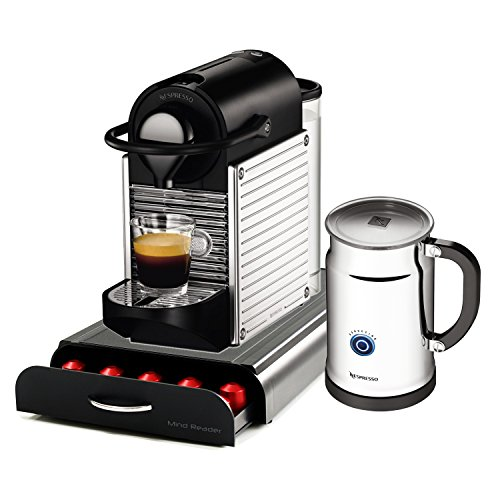 Nespresso Pixie C60 Chrome Espresso Machine With Aeroccino Plus Milk Frother and Bonus 50 Capsule Storage Drawer