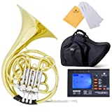 Cecilio 3Series FH-380 Intermediate Key of F/Bb Double French Horn with String Lever Action, Gold