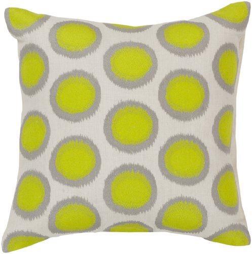 "18"" Ecliptic Electric Green And Whisper White Decorative Square Throw Pillow - Down Filler"