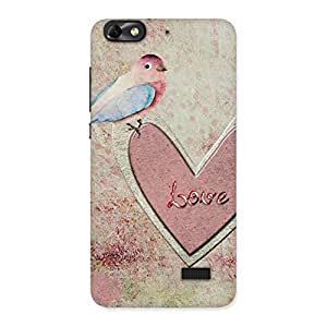 Premium Bird On Heart Print Back Case Cover for Honor 4C