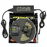 SUPERNIGHT 32.8ft 10M Waterproof RGB LED Flexible Strip 600leds Color Changing Kit , SMD 5050 LED Light Strip + 20Key Remote Music Controller + 24V 5A Power Supply