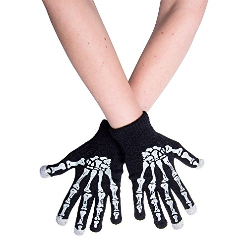 Guanti Skeleton Hand Stretchy Touchscreen Blue Banana (Nero) - Taglia Unica