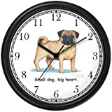 Pug Dog Cartoon or Comic - JP Animal Wall Clock by WatchBuddy Timepieces (Black Frame)